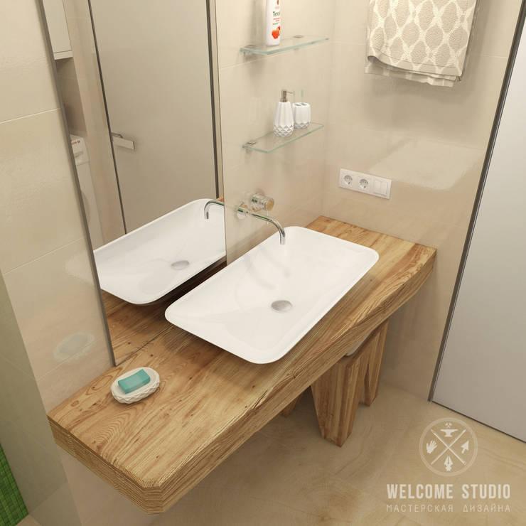 Ванная ракурс 5: Ванные комнаты в . Автор – Мастерская дизайна Welcome Studio, Минимализм