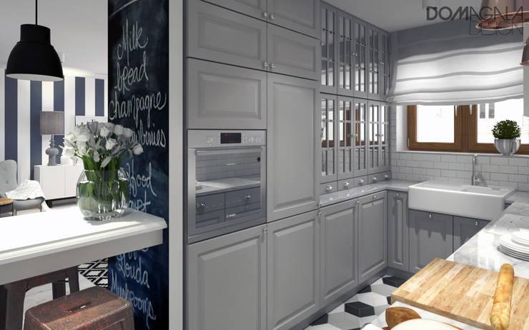 Biało Szary Czarny: styl , w kategorii Kuchnia zaprojektowany przez DOMagała Design