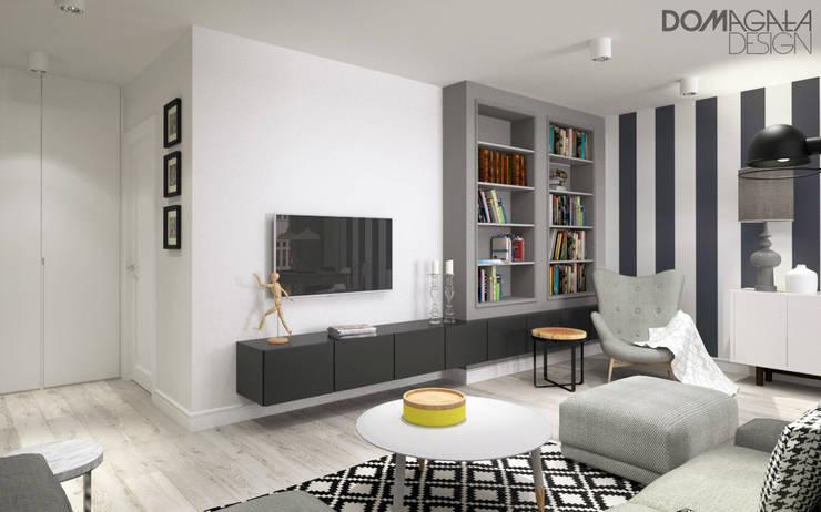 Biało Szary Czarny: styl , w kategorii Salon zaprojektowany przez DOMagała Design
