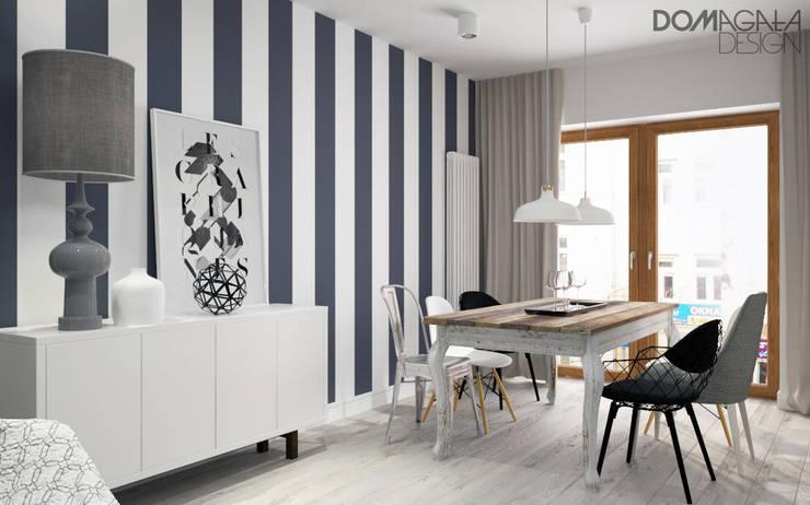 Biało Szary Czarny: styl , w kategorii Jadalnia zaprojektowany przez DOMagała Design