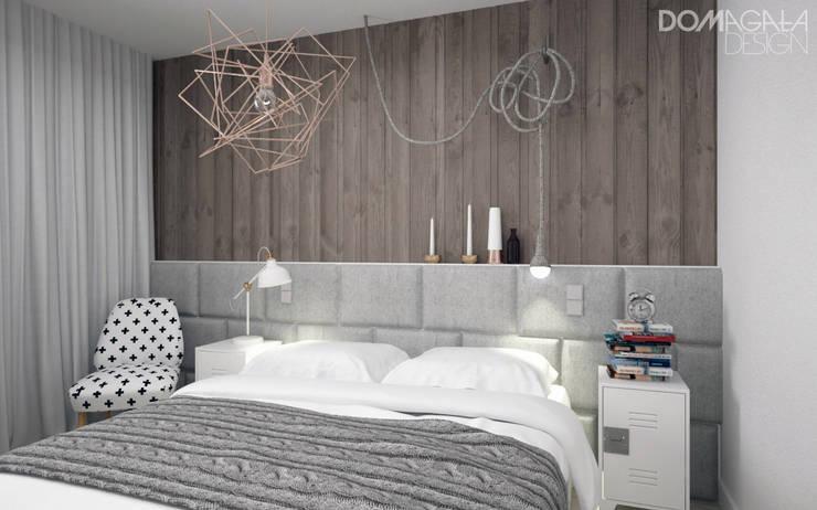 Biało Szary Czarny: styl , w kategorii Sypialnia zaprojektowany przez DOMagała Design
