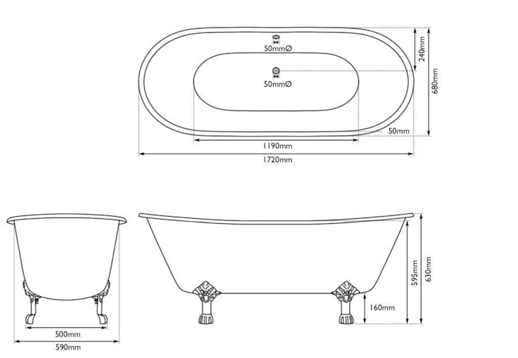 Dimensions of the Berwick Cast Iron Bath from the UKAA Bathroom Range:   by UK Architectural Antiques