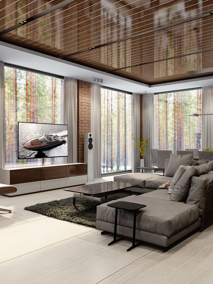 Дом под Зеленогорском: Гостиная в . Автор – HOMEFORM Студия интерьеров