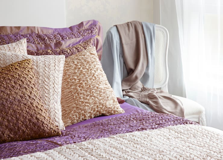 Hand Smocked Cushion Collection:  Bedroom by Nitin Goyal London