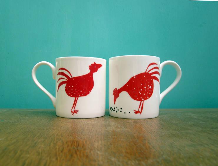 Red chickens mug:  Kitchen by The Black Rabbit