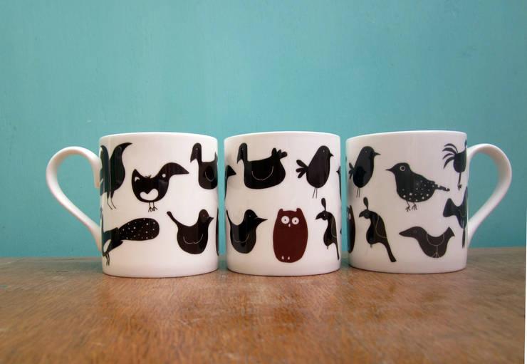 Mixed birds mug:  Kitchen by The Black Rabbit