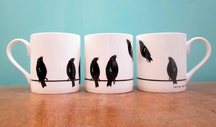 Racing sparrows mug:  Kitchen by The Black Rabbit