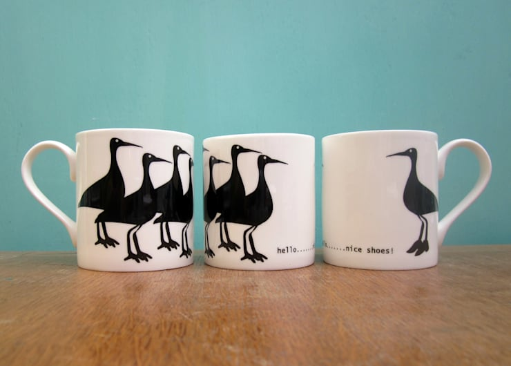 Curlews in shoes mug:  Kitchen by The Black Rabbit