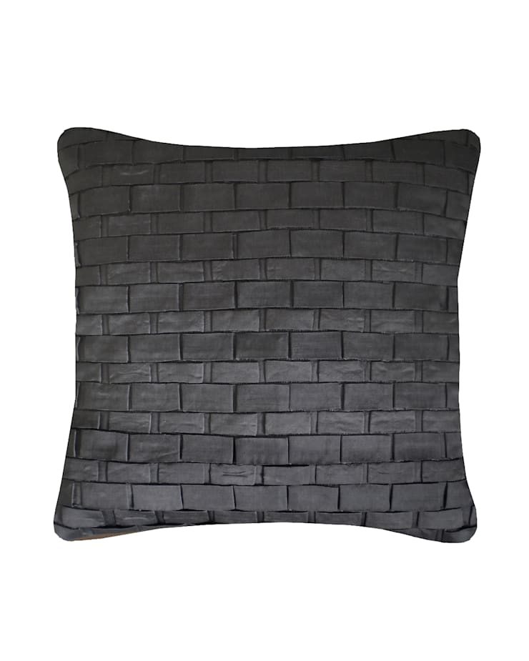 Hand pleated Origami cushion in Gunmetal, 30x50cm:  Bedroom by Nitin Goyal London