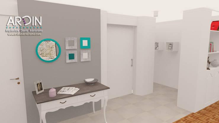 PROYECTO DALLAS: Pasillos y recibidores de estilo  por ARDIN INTERIORISMO