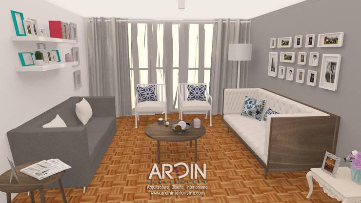 PROYECTO DALLAS: Salas de estilo  por ARDIN INTERIORISMO
