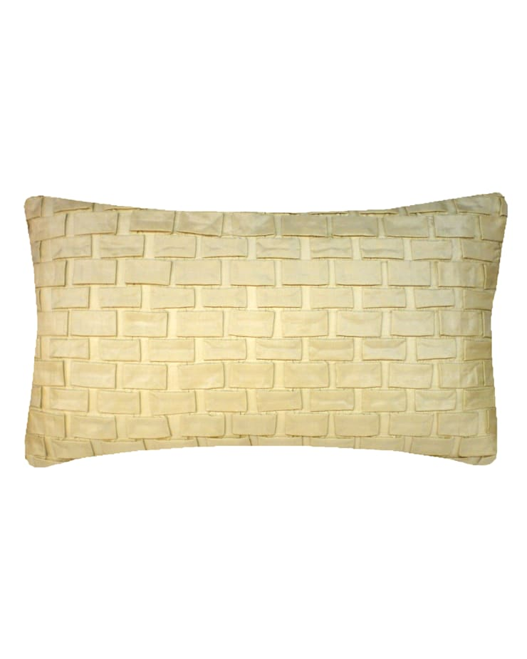 Hand pleated Origami cushion in Cream, 30x50cm:  Bedroom by Nitin Goyal London