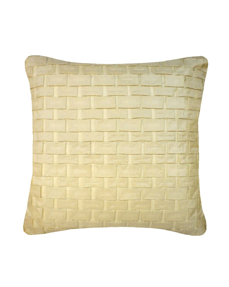 Hand pleated Origami cushion in Cream, 40x40cm:  Bedroom by Nitin Goyal London