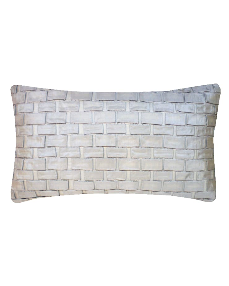 Hand pleated Origami cushion in Silver, 30x50cm:  Bedroom by Nitin Goyal London