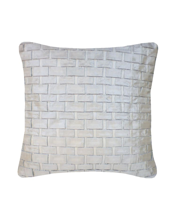 Hand pleated Origami cushion in Silver, 40x40cm:  Bedroom by Nitin Goyal London