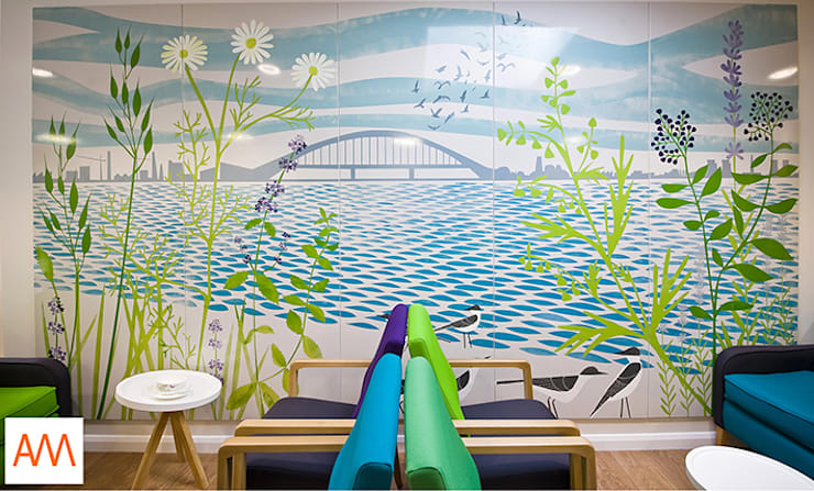 Large enamel mural for Macmillan Cancer in Runcorn UK:  Hospitals by Alison Milner