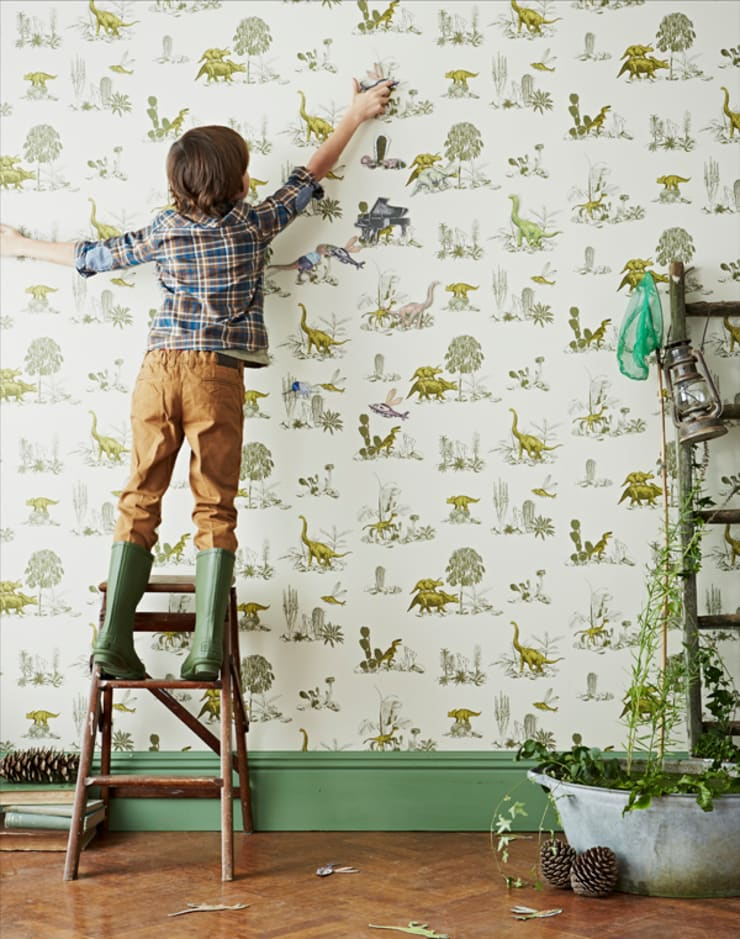 Magnetic Dino Wallpaper:  Walls & flooring by Sian Zeng