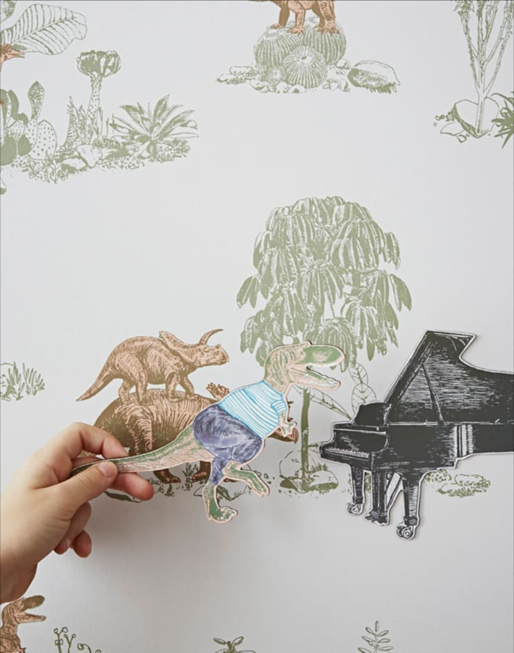 Magnetic Dino Pink Green Wallpaper:  Walls & flooring by Sian Zeng