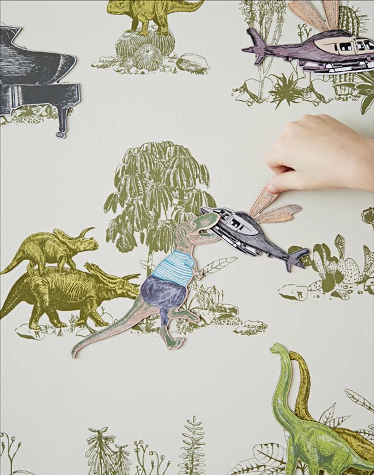 Magnetic Dino Wallpaper Yellow Green:  Walls & flooring by Sian Zeng