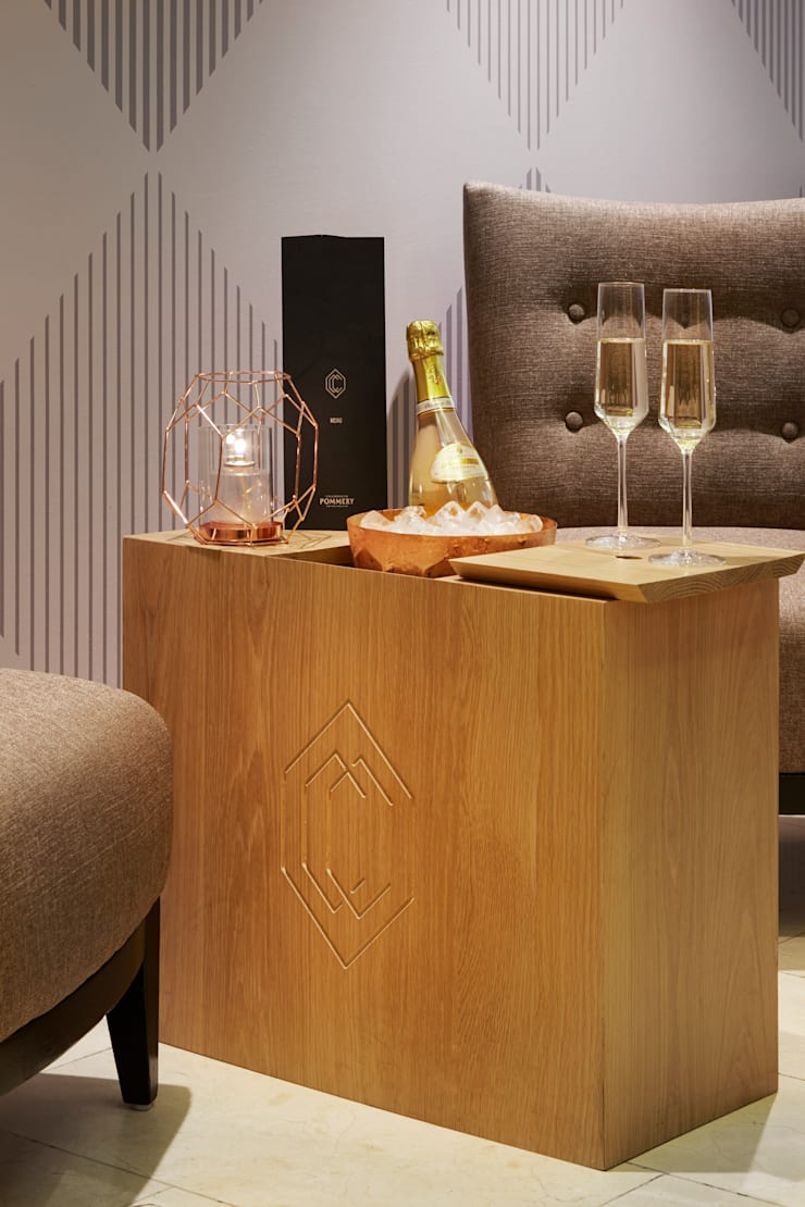 Branded champagne boxes:  Bars & clubs by Fraher Architects Ltd