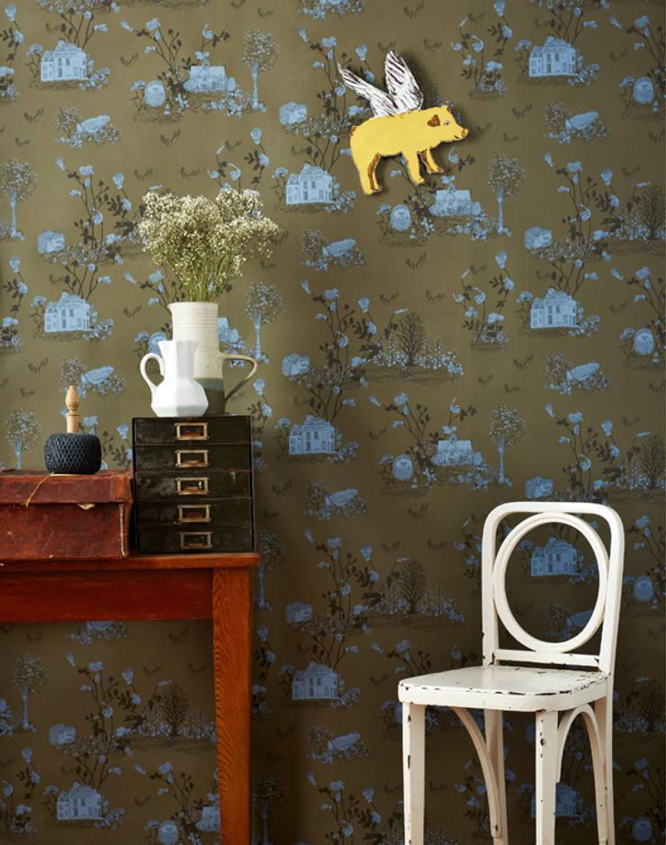 Woodlands Wallpaper Khaki Blue:  Walls & flooring by Sian Zeng