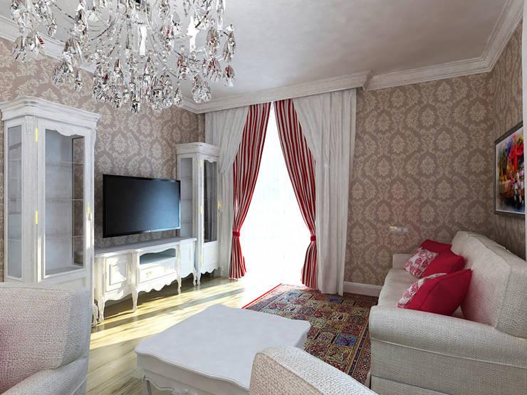 Living room by Дизайн студия Александра Скирды ВЕРСАЛЬПРОЕКТ