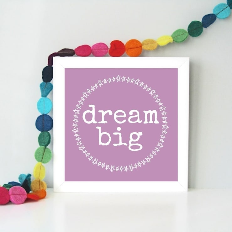 Bright and colourful 'Dream big' framed art print:  Nursery/kid's room by Always Sparkle