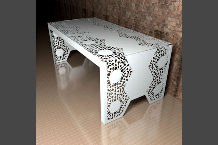 Modern dining tables in Manchester Lace :  Dining room by Laser cut Furniture & Screens