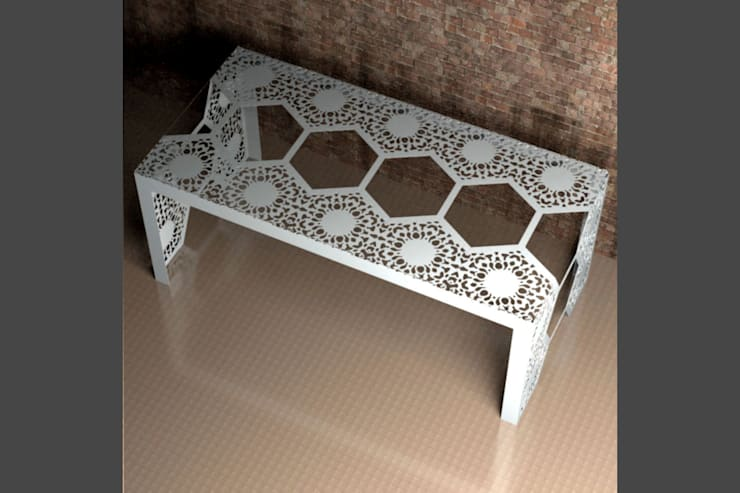 Modern dining tables in Chantilly Lace:  Dining room by Laser cut Furniture & Screens