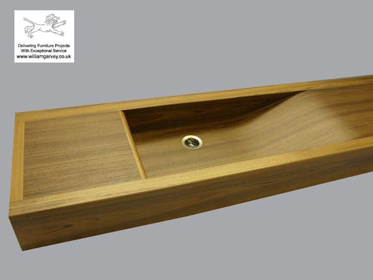 Bespoke Long Wave teak sink from William Garvey:  Bathroom by William Garvey Ltd