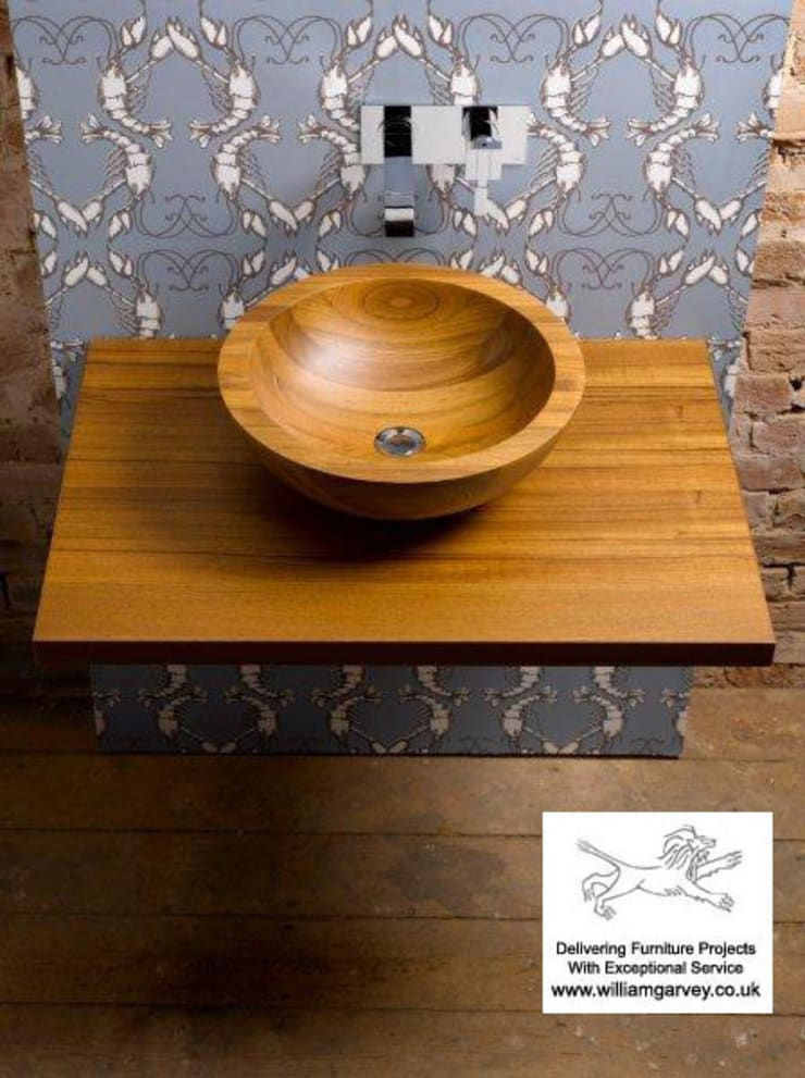 Teak Helio Sink:  Bathroom by William Garvey Ltd