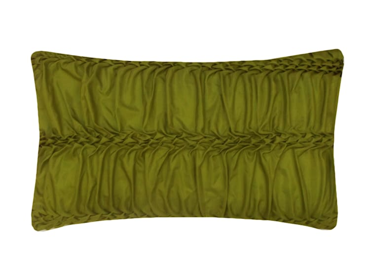 Hand Smocked Wave Striped Cushion in Lime, 30x50cm:  Bedroom by Nitin Goyal London