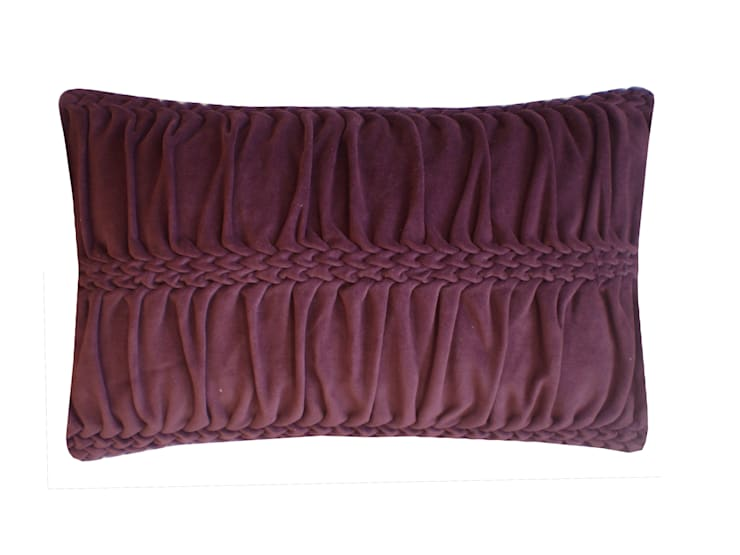 Hand Smocked Wave Striped Cotton Velvet Cushion in Eggplant, 30x50cm:  Bedroom by Nitin Goyal London