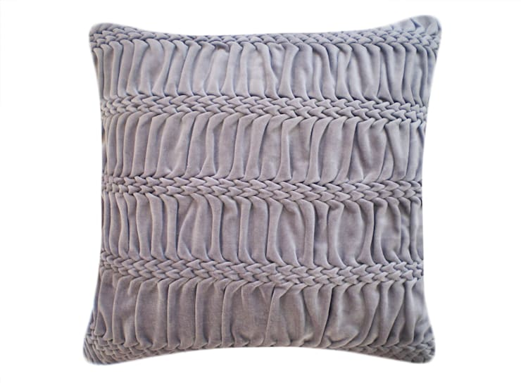 Hand Smocked Striped Wave Cotton Velvet Cushion in Lavender Grey, 50x50cm:  Bedroom by Nitin Goyal London