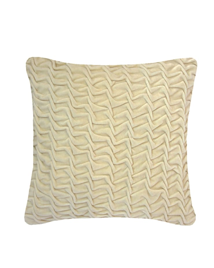 Hand Smocked Swirl Cotton Velvet Cushion in Cream, 40x40cm:  Bedroom by Nitin Goyal London