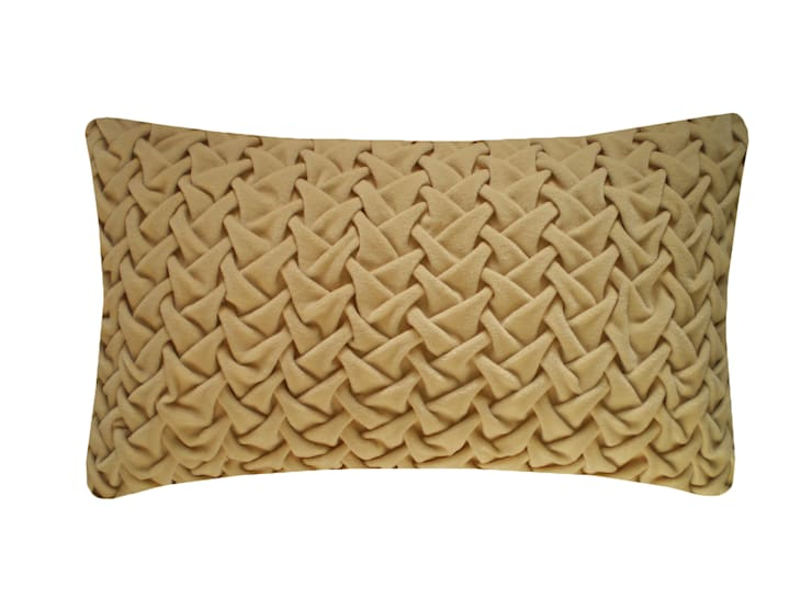 Hand Smocked Large Wave Cotton Velvet Cushion in Natural, 30x50cm:  Bedroom by Nitin Goyal London