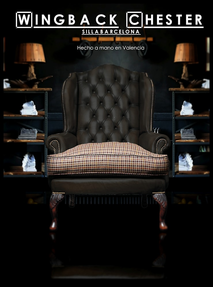 Sillón Chesterfield wing backchair: Salones de estilo  de SILLABARCELONA