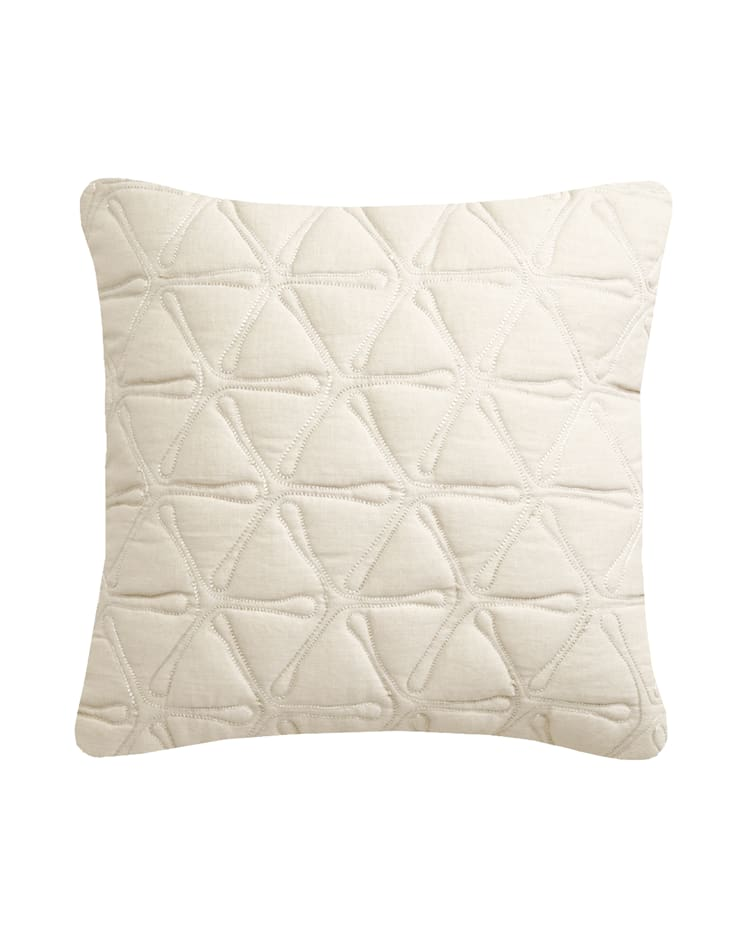 Quilted Geo Cotton Cushion in Ivory, 40x40cm:  Bedroom by Nitin Goyal London