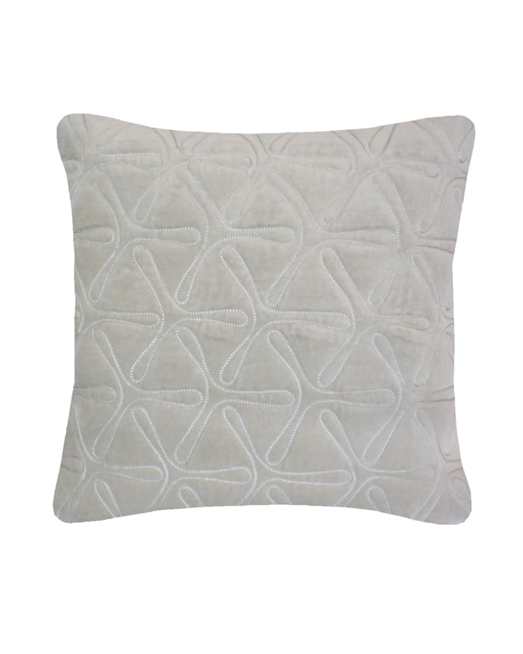 Quilted Geo Cotton Velvet Cushion in Dove Grey, 40x40cm:  Bedroom by Nitin Goyal London