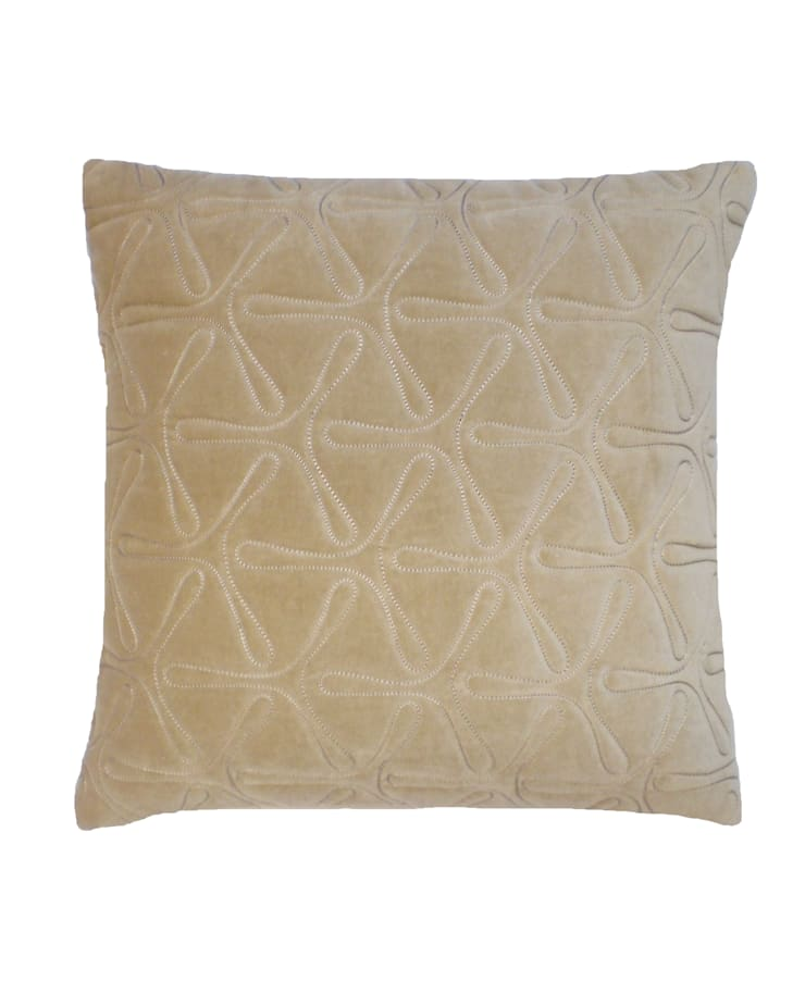 Quilted Geo Cotton Velvet Cushion in Natural, 40x40cm:  Bedroom by Nitin Goyal London
