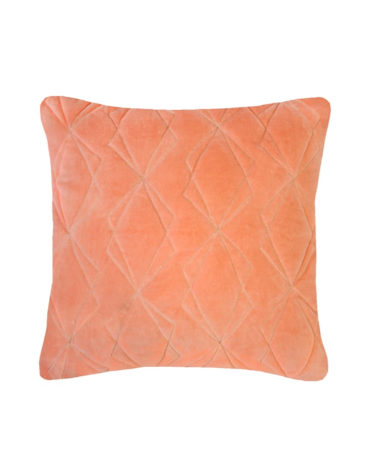 Quilted Duo Cotton Velvet Cushion in Persimmon, 40x40cm:  Bedroom by Nitin Goyal London