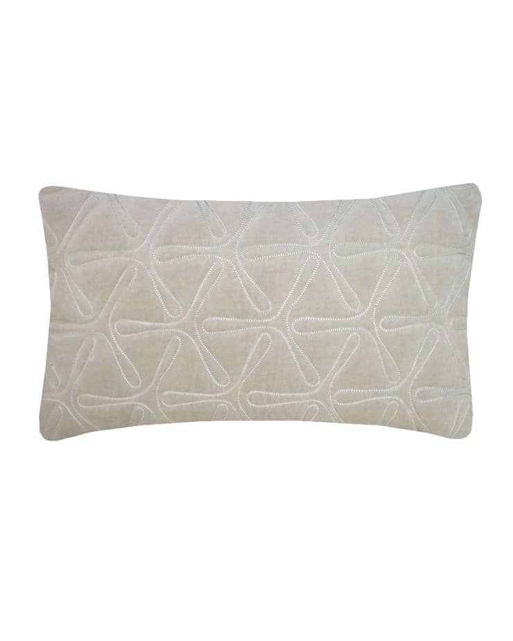 Quilted Geo Cotton Velvet Cushion in Dove Grey, 30x50cm:  Bedroom by Nitin Goyal London