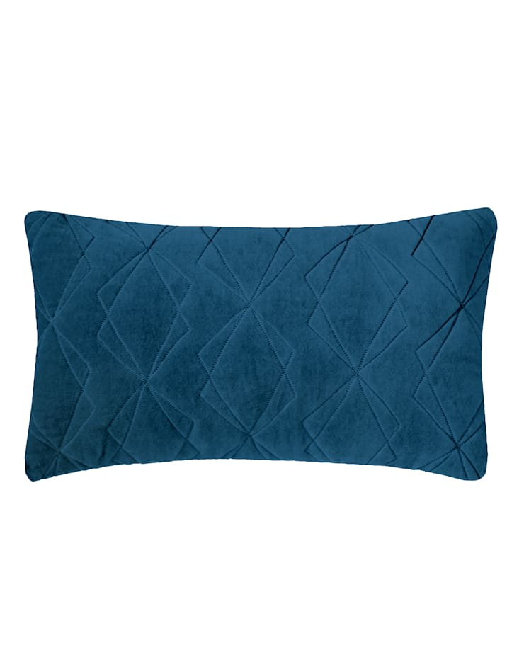 Quilted Duo Cotton Velvet Cushion in Teal, 30x50cm:  Bedroom by Nitin Goyal London