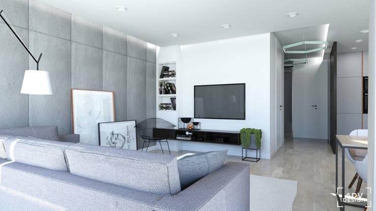 63 m2: styl , w kategorii Salon zaprojektowany przez ADV Design,Minimalistyczny