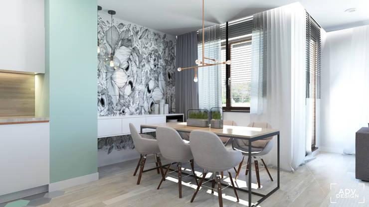 63 m2: styl , w kategorii Jadalnia zaprojektowany przez ADV Design,Minimalistyczny