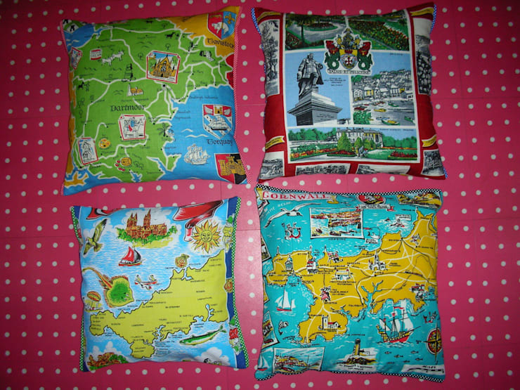 Devon and Cornwall cushions:  Living room by Random Makes