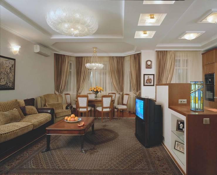 Интерьеры двухуровневой квартиры на ул. Куусинена: Гостиная в . Автор – дизайн студия 'LusiSarkis '