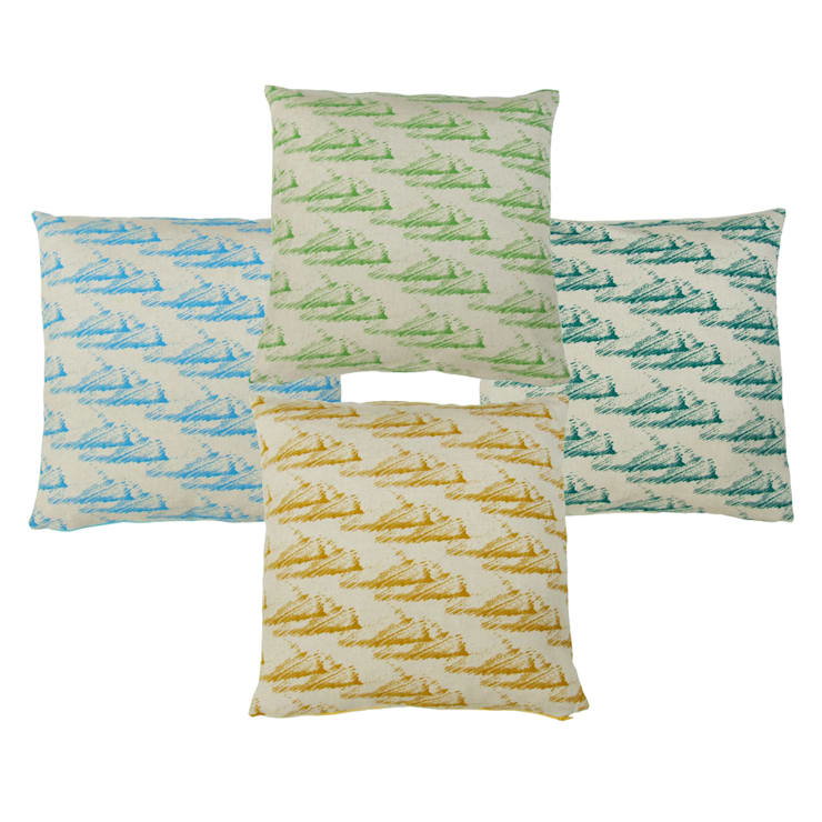 """Hand Printed British Woven 18"""" Cushions in Clouds Print:  Household by Sarah Waterhouse"""