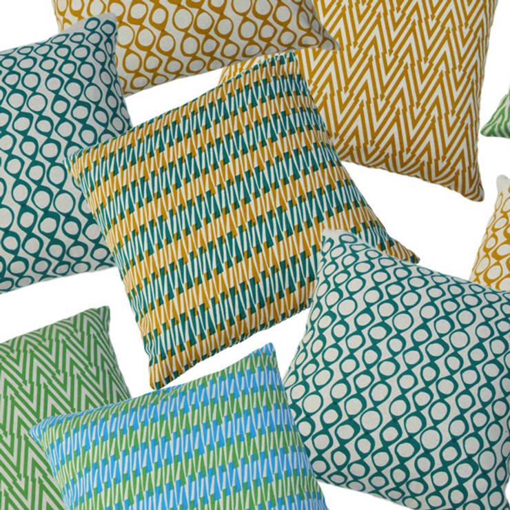 "Hand Printed British Woven 18"" Cushions:  Household by Sarah Waterhouse"