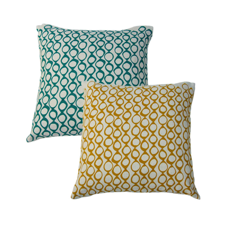 """Hand Printed British Woven 18"""" Cushions in Pods Print:  Household by Sarah Waterhouse"""